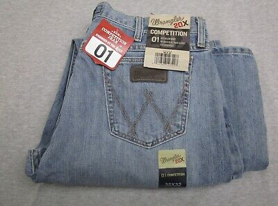 9bc9f618 NEW Mens Wrangler 20x 01 Competition Blue Denim Jeans 35x32 NWT 100% cotton