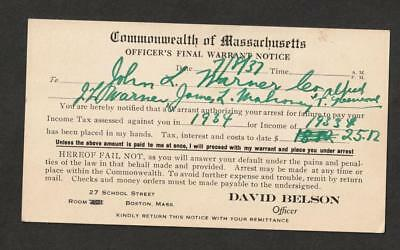 1937 Massachusetts Arrest Warrant for Unpaid Taxes.