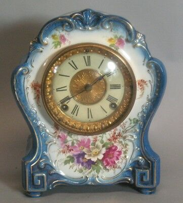 "Antique ANSONIA ROYAL BONN Porcelain Clock  ""La Hay""  c. 1880s +"