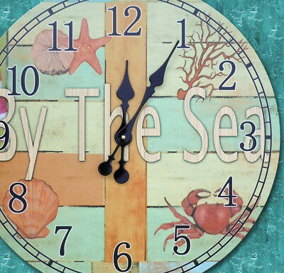 23 Inch By The Sea Nautical Scene Wall Clock Starfish, Shell and Crab Print