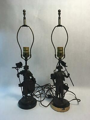 Pair of ANTIQUE Bronze Figural Lamps Farmers Wood Base - Tested, WORKS