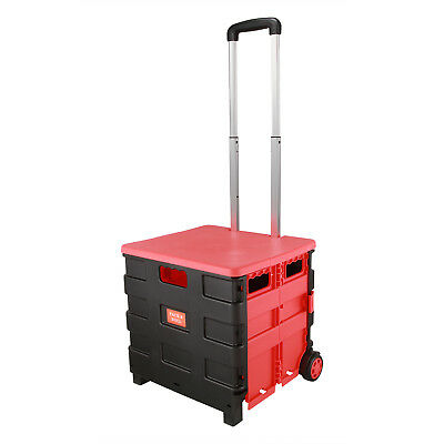 Red Folding Boot Cart Shopping Trolley Pull Handle Rolling Storage Box Tidy - UK