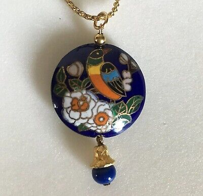 Vintage Chinese Cloisonné Enamel Pendant Necklace Double Sided Bird Flowers 18""
