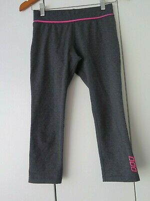 LORNA JANE Sz XS Grey Marle 3/4 Tights with Neon Pink Stripe Contrast EC