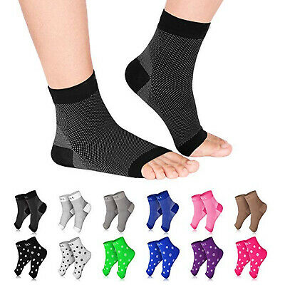 Foot Ankle Compression Socks Sleeve Plantar Arthritis Sore Achy Heel Pain Relief