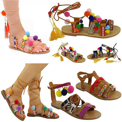 WOMENS LADIES STRAP FLAT LACE UP SHOES POM POM BEACH GLADIATOR SANDALS SiZE