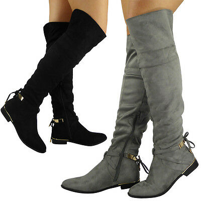 Womens Boots Ladies Over The Knee Thigh High Stretch Lace Up Low Heel Shoes Size