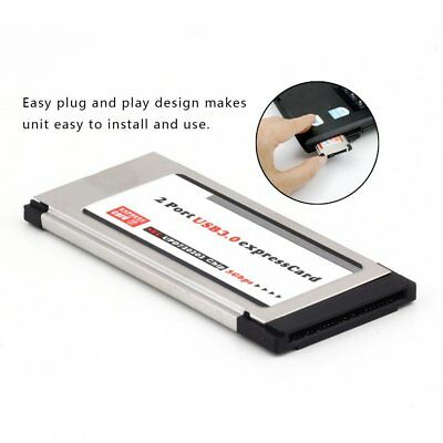 USB 3.0 Dual 2 Port Adapter Express Card Expresscard to 34mm 64mm Slot Laptop C9