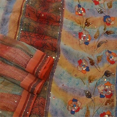 Sanskriti Vintage Saree Pure Crepe Silk Hand Beaded Fabric Premium 5 Yard Sari