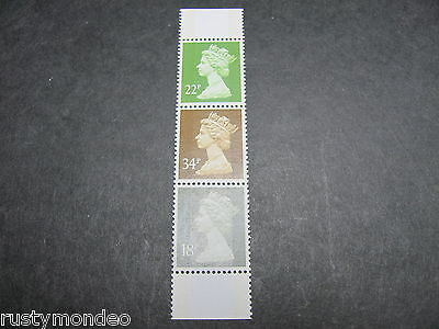 QE II Decimal Machins, Strip from DX 9, SG: X1010, X1015 and X1021, 2 bands, MNH