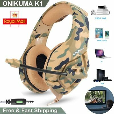 ONIKUMA K1 Stereo Bass Surround Gaming Headset for PS 4 X box One PC with Mic UK