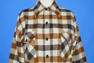 vtg 80s LL BEAN BROWN CREAM PLAID WOOL WOMEN'S CAMP BUTTON FRONT SHIRT 10 - 12