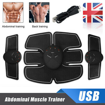 4 In 1 USB Rechargable Abdominal Muscle Trainer Fitness ABS Stimulator Toner LOT