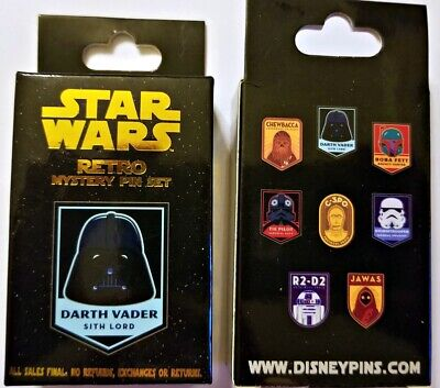 Disney Collectible Pin Pack STAR WARS RETRO Mystery Box of 2 Pins Sealed NEW