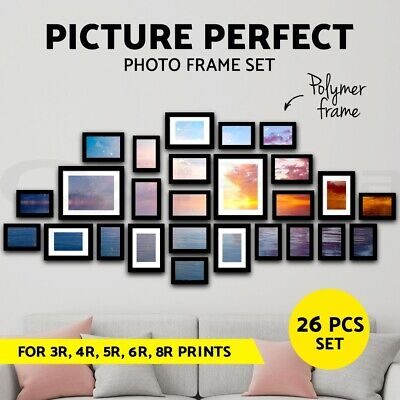 26 PCS Photo Frame Wall Set Collage Picture Frames Hanging Home Decor Gift Black