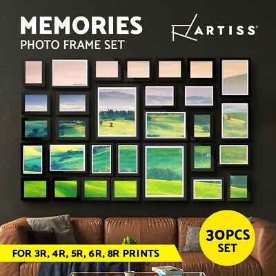 30 PCS Photo Frame Wall Set Hanging Collage Picture Frames Home Decor Gift Black