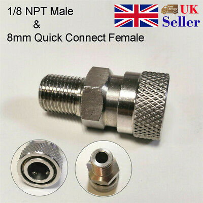 Paintball CO2 HPA Compressed Air Fill Adapter 8mm Female Quick Disconnect 1/8NPT