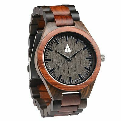 Treehut Men's Rosewood and Ebony Wooden Watch with All Wood Strap Quartz Analog