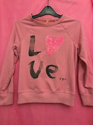 Pink Sweat Top Age 11 Yrs Next Love Heart Logo Arty Sequin Long Sleeve Quick Sal