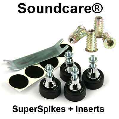 1 Set M8 SoundCare SuperSpikes Speaker / Subwoofer Spikes.NEW + M8 Inserts