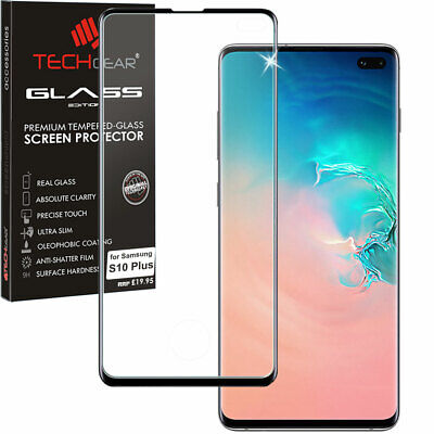Black TECHGEAR TEMPERED GLASS Full Screen Protector for Samsung Galaxy S10 Plus