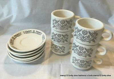 6 Best China Homer Laughlin Restaurant Ware Gray Floral Cups & Saucers