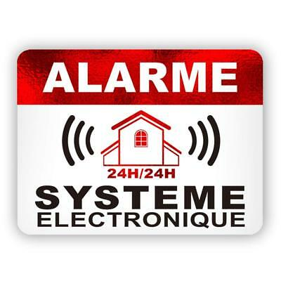 Autocollants Dissuasifs Alarme - Surveillance Electronique - Lot de 12 - 8x6cm
