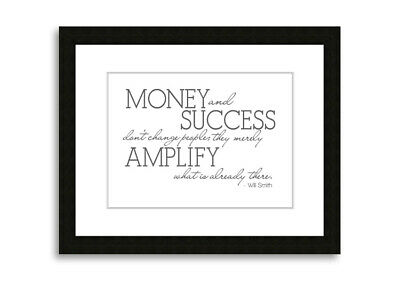 Will Smith Money And Success Grey  09729 Framed Print