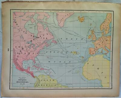 Crams Atlas Map Page Plate Voyages Of Discovery 861-1685 A.d. Vintage (1894)