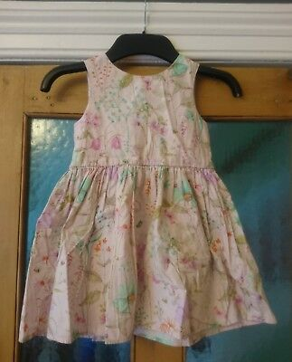 Next Pink Floral Cotton Summer Dress Size 2-3 Years Party Wedding Toddler Girls