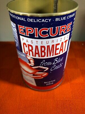 VINTAGE EPICURE 8 OZ CRAB MEAT CAN J.M. CLAYTON CO. CAMBRIDGE, MD Blue Crabs