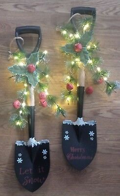LED Lighted Holiday Winter Let It Snow or Merry Christmas Country Shovel Swags