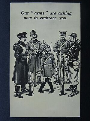 WW1 War Cartoons Series OUR ARMS ARE ACHING.... c1914 Postcard Bamforth 5002