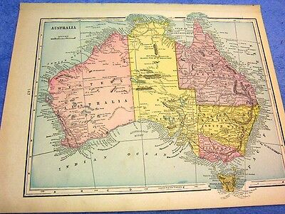 Antique Map Of Austraila & Tasmania      Nicely Colored   From 1899  Loook!!