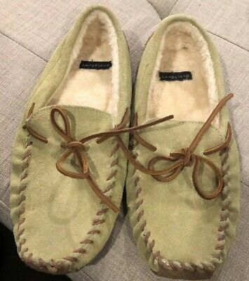 a0ae2b406ccf LANDS  END SLIPPERS Mules Mocs Blue Suede White Stitching Rubber ...