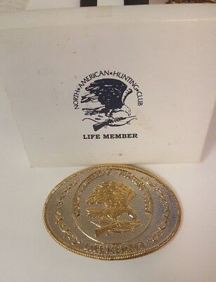 Vintage North American Hunting Club Life Member Silver & Gold Tone Belt Buckle