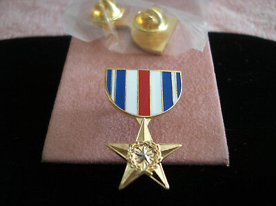 Military Medal Hat Pin - Silver Star