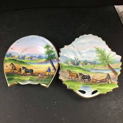 Vintage Farming Farm Ploughing Country Farm House Astray And Pin Dish Man Cave