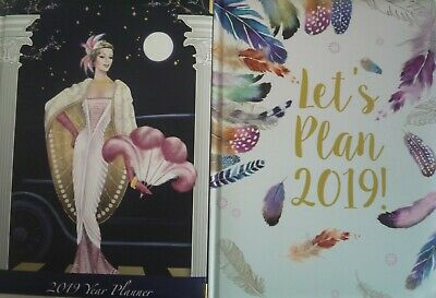 Robert Frederick Padded 2019 Yearly Planner Calendar Diary Art Deco or Feathers