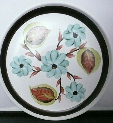 Denby Glyn Colledge Plate 8.25 inches.Cream.Brown edge.Stylised Leaves.Flowers
