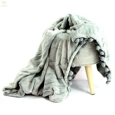 Super Soft Luxury Micro Plush Faux Mink Fur Pompom Blanket Throw Over 130x170cm