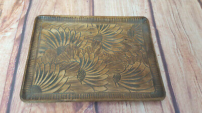 Sunflower/Floral Carved Wooden Tray