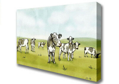 Cows Drawing Modern Canvas Print Wall Art A2 Size 06905