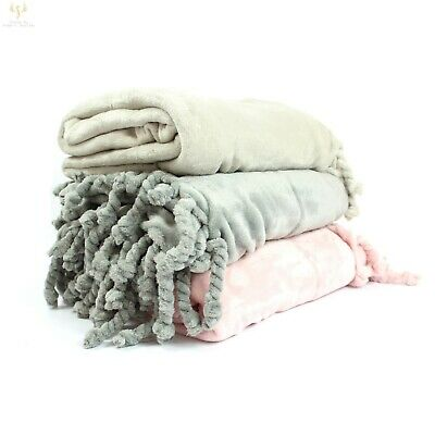 Super Soft Luxury Micro Plush Faux Mink Fur Tassel Blanket Throw Over 150x200cm