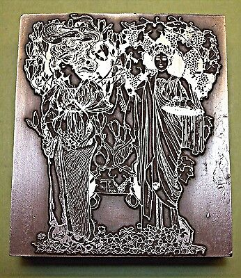 "A Large ""art Nouveau"" Bookplate Printing Block."