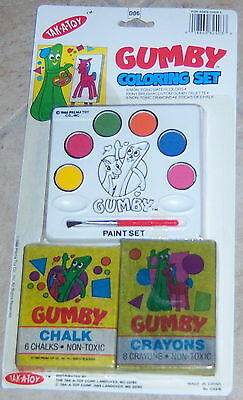 Gumby Pokey Coloring Set with paints chalk by Tak-a-Toy Mint on Card 1989