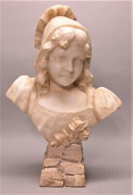 Gorgeous & Large 19th C. Italian ART NOUVEAU ALABASTER BUST  c. 1890  antique