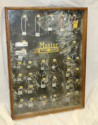 Antique Country Store Advertising Display Case for Master Locks and Padlocks