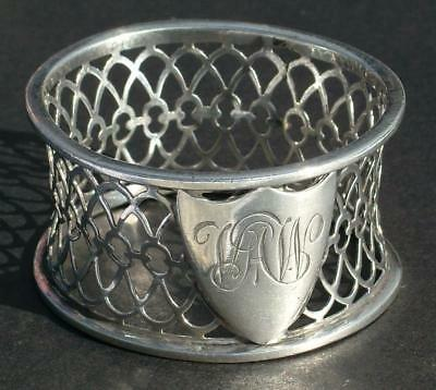 Beautiful Openwork Sterling Silver Antique Victorian Napkin Ring William