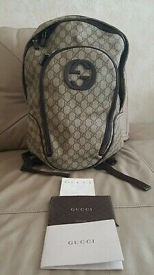 fd9918226e5b Gucci Backpack GG Monogram Beige Brown Canvas Large 100% Authentic Bag